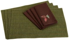 Amazon.com - DII Autumn Woods Linen Set, Includes 4 Winter Pine Woven Placemats and 4 Embroidered Leaves Napkins - Kitchen Linen Sets #AmazonCart #DII #DesignImports