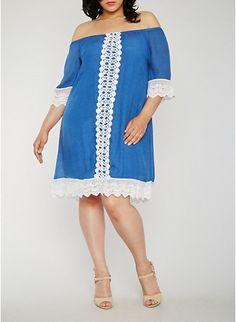 Plus Size Off the Shoulder Peasant Dress with Crochet Trim,DENIM