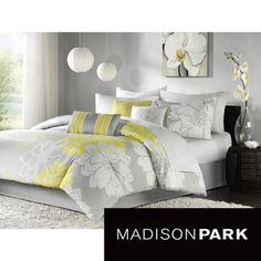 @Overstock.com - Madison Park Brianna 7-piece Comforter Set - This floral Madison Park comforter and bedding set showcases the perfect updated, modern print. This comforter collection features an over-scaled grey, white and yellow floral print that is printed on 100-percent cotton fabric for a super soft feel.  http://www.overstock.com/Bedding-Bath/Madison-Park-Brianna-7-piece-Comforter-Set/6319607/product.html?CID=214117 $100.72