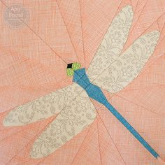 Dragonfly Paper Pieced Pattern posted on Flickr by Amy  Here is the final block in my 16 pattern garden series. It's time to figure out my quilt layout!