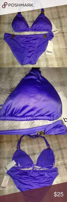 NWT BAR III S Electric colbalt bikini smooth stunn New with tags , retailed $88, Bar III Brand , Sz s small,color is called electric colbalt but to me looks like a pale purple/lavender? Color . Camera flash makes look darker Bar III Swim Bikinis