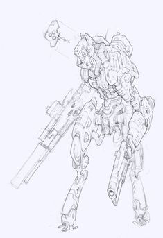 Rackham | AT-43 | Edouard Guiton Character Concept, Character Art, Robot Sketch, Monochromatic Art, Android Art, Arte Robot, Pretty Drawings, Robot Concept Art, Robot Design