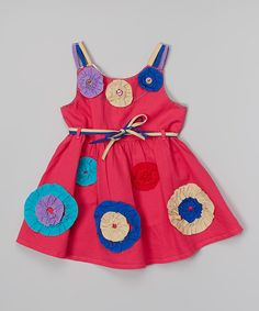Look at this the Silly Sissy Fuchsia Rosette Tie Dress - Infant, Toddler