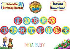 Goldie and Bear Printable Birthday Banner