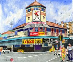 """""""Surfers Paradise Hotel ca - Buildings on the Gold Coast do not come more iconic that the old girl here. It was such a pity to see her go. I drew this using Polychromos Pencils on Canson Stock. x This is the fourth instalment in the Series. Paradise Hotel, Polychromos, Australian Artists, Surfers, Gold Coast, Line Drawing, Brisbane, Artworks, Buildings"""