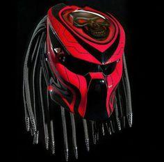 Predator Motorcycle Helmet Motive Galaxy Line Red Skull (Dot Certified) Motorcycle Events, Custom Motorcycle Helmets, Custom Helmets, Women Motorcycle, Bike Helmets, Scrambler Motorcycle, Wolf Predator, Predator Helmet, Predator Alien