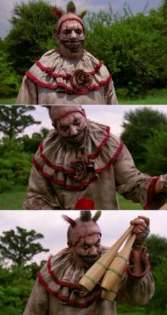 "I see a rise in both the exacerbation of and new onset coulrophobia. The perfect costume for me to chase kids around the neighborhood on Halloween night. /#AmericanHorrorStory #FreakShow | S04E01 ""Monsters Among Us"" 