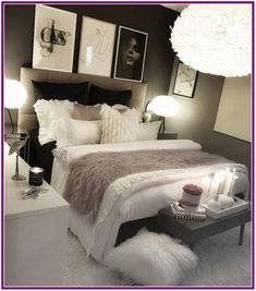 cozy grey and white bedroom ideas; bedroom ideas for small rooms; bedroom decor … - home decor on a budget bedroom Bedroom Decor Ideas Colour Schemes, Room Ideas Bedroom, Small Room Bedroom, Home Decor Bedroom, Girls Bedroom, Budget Bedroom, Color Schemes, Bed Room, Cozy Bedroom