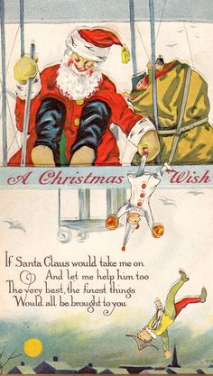 Vintage Santa Christmas Card ~ S.C.'s Working from a Bi-Plane!