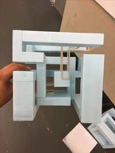 Final cube exercise: Operations- interlock & nesting Foam as volumetric elements and wood as linear