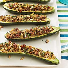 Stuffed Zucchini with Cheesy Breadcrumbs - Summer Side Dishes - Cooking Light Mobile Vegetarian Main Dishes, Vegetarian Recipes, Cooking Recipes, Healthy Recipes, Vegetarian Thanksgiving, Vegetarian Appetizers, Healthy Dishes, Thanksgiving Recipes, Delicious Recipes