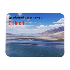 Brahmaputra river and mountain landscape - Tibet Magnet - home gifts ideas decor special unique custom individual customized individualized