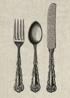 Fork Spoon and Knife Vintage Clipart Printable by InstantGraphics