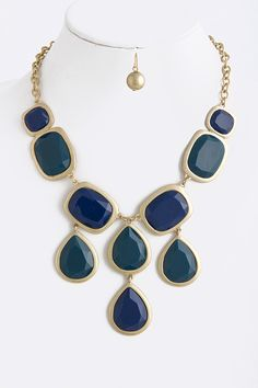 JEWEL DROP NECKLACE Blue/Green