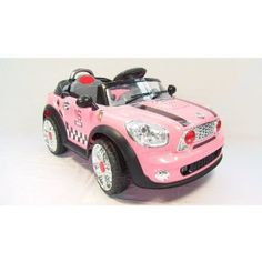 mini cooper style kids ride on car pink 6v battery powered electric car