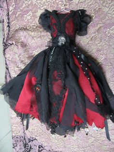 Black and Red Gothic Miniature Dress with Skull by LaBagatellique, $45.00