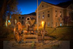 Old cannon in front of historic library in Idaho Springs, Colorado Idaho Springs Colorado, Hot Springs, Cannon, Fine Art Photography, Evans, Relax, United States, Vacation, Mansions