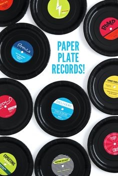 Check out these DIY Paper Plate Records using this cute printable from (diy party decorations wall) 50s Theme Parties, Music Themed Parties, Party Themes, Party Ideas, 80s Theme, Grease Themed Parties, Fun Ideas, Beatles Party, Music Theme Birthday