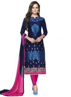 Eye -Catching Blue and Rani Pink Coloured  Cotton Semi-Stitched Designer Salwar Suit