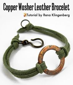 Jewelry Making Bracelets Rustic Copper Washer and Leather Bracelet Tutorial by Rena Klingenberg - Free jewelry tutorials, plus a friendly community sharing creative ideas for making and selling jewelry. Copper Jewelry, Wire Jewelry, Jewelry Crafts, Beaded Jewelry, Jewelry Bracelets, Jewelry Roll, Ruby Jewelry, Dainty Jewelry, Silver Bracelets