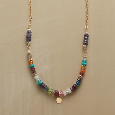 """AGAINST THE ODDS NECKLACE--Suspended from an astonishing array of gemstones, one tiny golden disk somehow manages to catch the eye. Sundance exclusive handmade in USA with 14kt gold filled and 18kt vermeil. 17""""L."""