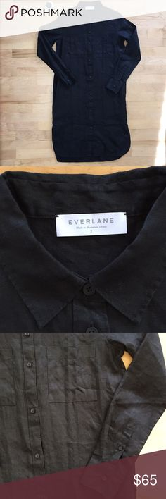 Everlane black linen shirt dress, size 2 NWOT. The perfect addition to your capsule wardrobe: a black linen shirt dress from Everlane, size 2. Relaxed fit, pockets... a comfortable and versatile piece. Nothing wrong with the dress—it has just sat in my closet untouched and figured it deserves a loving home! Everlane Dresses Midi