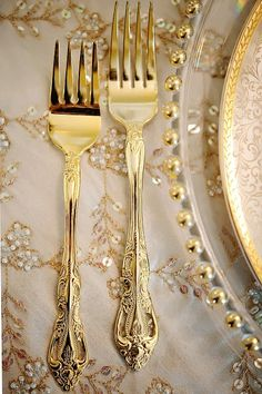 Gold flatware... NEED. Will look so perfect with all my Annie Glass - along with everything else! Perfect.