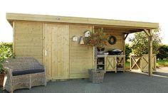 Met veranda voor achterin de tuin Pergola, Shed, Outdoor Structures, Ideas, Backyard Sheds, Thoughts, Arbors, Coops, Barns
