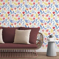 Pink Flowers Removable Wallpaper, Floral Pattern Wall Cling, Botanical Peel and Stick, Simple Pretty Mural Decal, Living Room Wall Decor - Canvas Wall Decal / 1 roll: 24W x 84H
