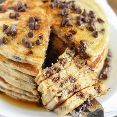 These chocolate chip greek yogurt pancakes make a perfect light and healthy breakfast and are packed with extra protein!