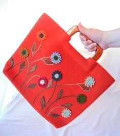 Mod Orange Embroidered Handbag, Wood Handled Purse, Colorful Daisies, 60s 70s