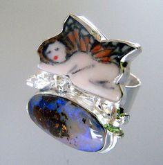 Sleeping Fairy Art Ring by laurastamperdesigns on Etsy, $245.00
