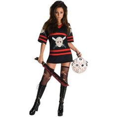 Miss Sexy Voorhess Adult Halloween Costume, Women's, Black