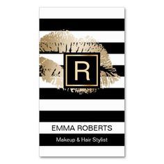 Makeup & Hair Stylist Gold Lips Modern Stripes Double-Sided Standard Business Cards (Pack Of 100):