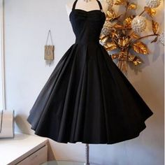 The ultimate little black dress! black taffeta with full circle skirt and halter neck. Simple yet spellbinding! At Xtabay - Vintage clothing store in Portland, Oregon. Dress Outfits, Fashion Dresses, Dress Up, Dress Skirt, Vintage Outfits, Vintage Fashion, Vintage Clothing, Dress Vintage, Vintage Black Dresses
