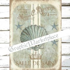 Salle de Bain Maison Bath Seashell Large Image Instant Download Vintage Transfer Fabric digital collage sheet printable No. 1712