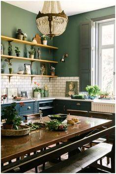 Green Paint Colors, Kitchen Paint Colors, Green Kitchen Paint, Kitchen With Green Walls, Green Country Kitchen, Dark Green Rooms, Green Wall Color, Colorful Kitchen Decor, Green Home Decor
