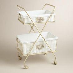 White Metal Marcie Double Hamper >> #WorldMarket Laundry Organization Tips