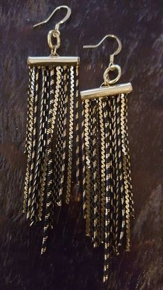 Gold and Black Chain Dangle Earrings by FindingLifeDesigns on Etsy