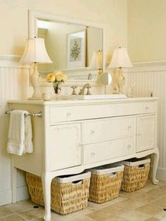 Dresser sink, with baskets under. I can add cool legs