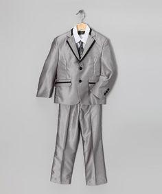 Metallic Gray Five-Piece Suit Set - Toddler & Boys #zulily #zulilyfinds