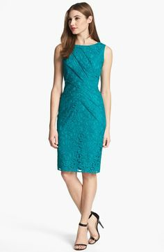 Adrianna Papell Sleeveless Pleated Lace Sheath Dress available at #Nordstrom Another option for the wedding, but may be too dark