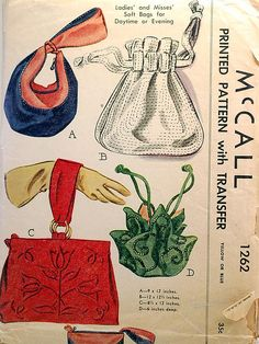 VINTAGE 1262 Soft Bags for Day or Evening (CUT/TRANSFERS INTACT) 7631 Designer Roland Klein > Remember Mum, back in the early making an evening bag kike the green one illustrates which matched her ball gown. Vintage Purses, Vintage Bags, Vintage Handbags, Motif Vintage, Vintage Dress Patterns, Tote Bags, Lv Bags, Patron Vintage, Retro Mode