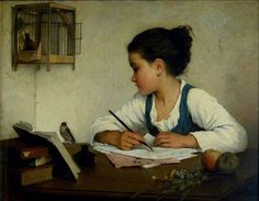 """""""A girl writing """" (c. 1860 - 80) By Henriette Browne (her real name was Sophie de Bouteiller), from Paris (1829 - 1901)"""