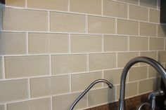 My backsplash dreams came true with these tiles Glass Subway Tile Backsplash, Backsplash For White Cabinets, Subway Tile Kitchen, Glass Kitchen, Kitchen Backsplash, Subway Tile Colors, Backsplash Ideas, Cream Kitchen Walls, Kitchen Facelift
