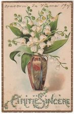 Lilies Of The Valley In A Fancy Vase Original Vintage Postcard
