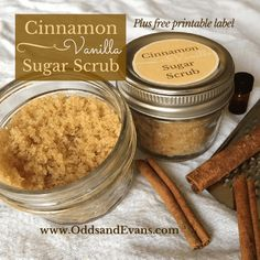Cinnamon Vanilla Sugar Scrub Recipe Gift Printable Label This homemade sugar scrub will leave your skin silky soft and makes a great gift for yourself or others. Especially with my free printable label.