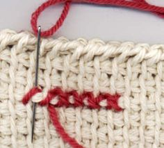 cross stitch on tunisian crochet without a WS showing!
