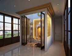 Follow these simple Vastu tips while designing your pooja room to make the space auspicious and fill your home with positive energy. Pooja Room Door Design, Home Room Design, Home Interior Design, Living Room Designs, House Design, Temple Room, Home Temple, Temple Design For Home, Mandir Design