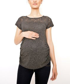 Look at this Smoked Lace Maternity Cap-Sleeve Top - Women on #zulily today!